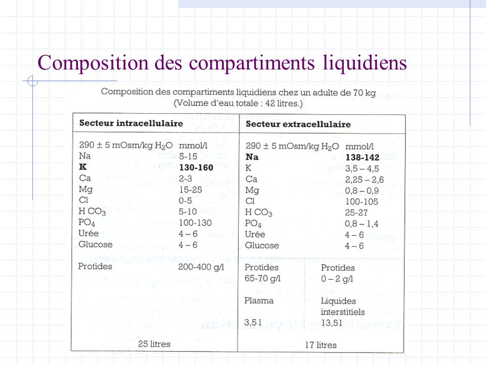 Composition des compartiments liquidiens