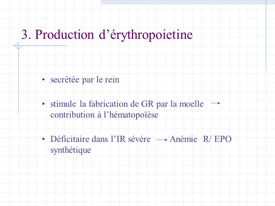 3. Production d'érythropoietine