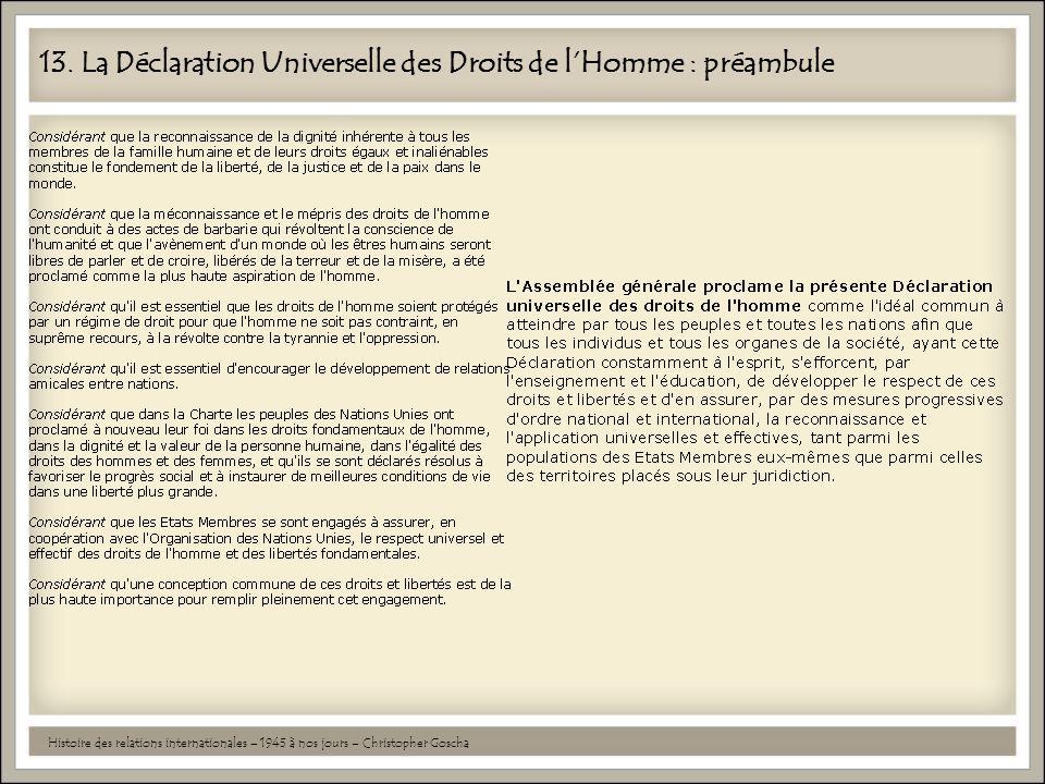 13. La Déclaration Universelle des Droits de l'Homme : préambule