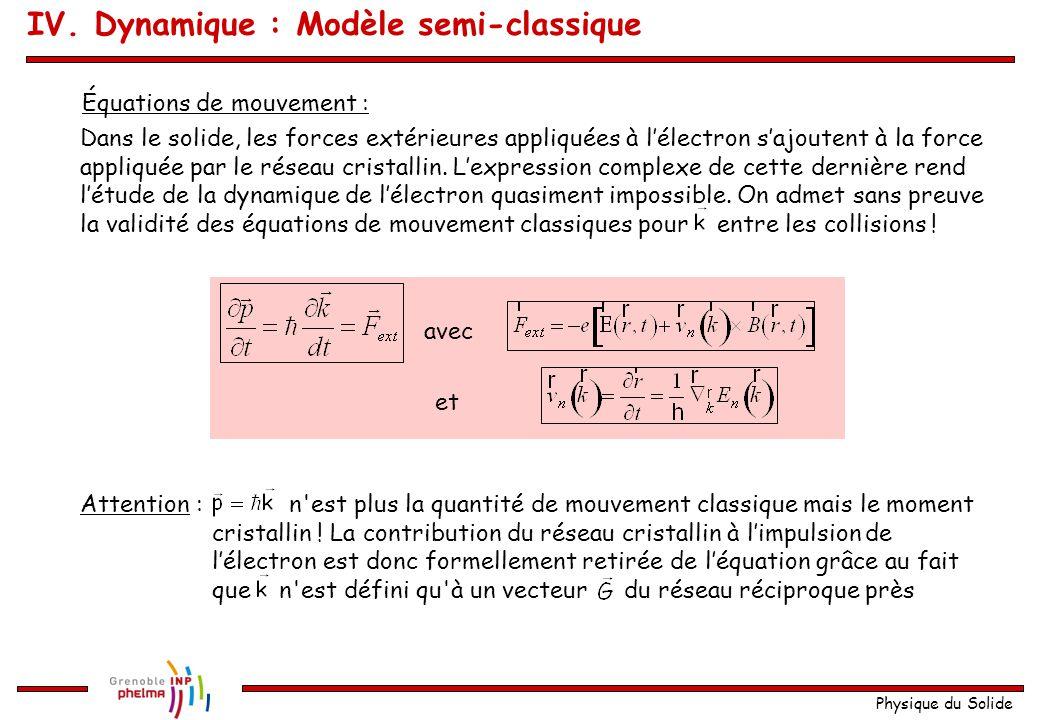 IV. Dynamique : Modèle semi-classique