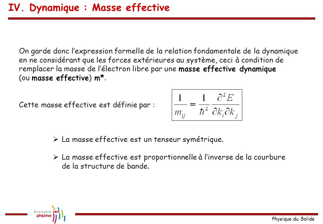 IV. Dynamique : Masse effective