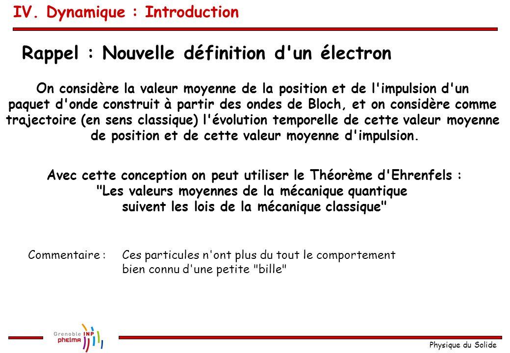 Rappel : Nouvelle définition d un électron