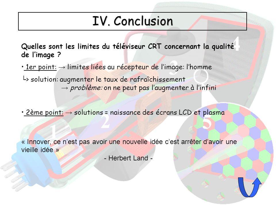 IV. Conclusion Quelles sont les limites du téléviseur CRT concernant la qualité de l'image