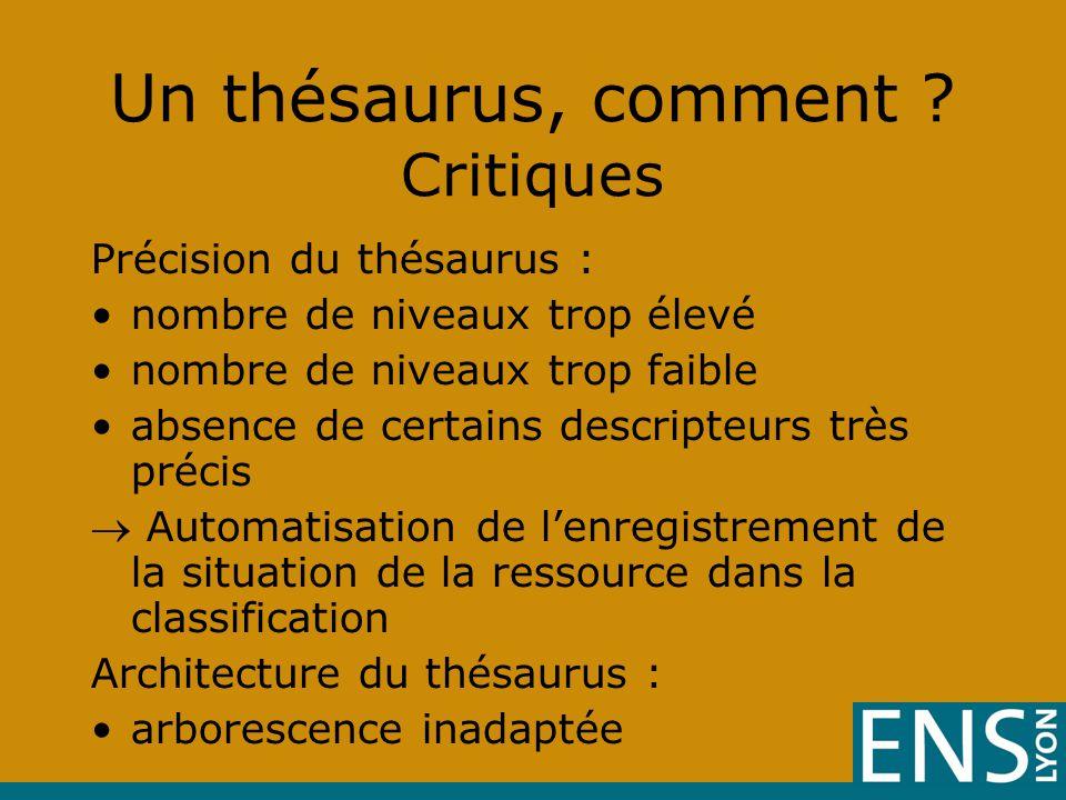 Un thésaurus, comment Critiques