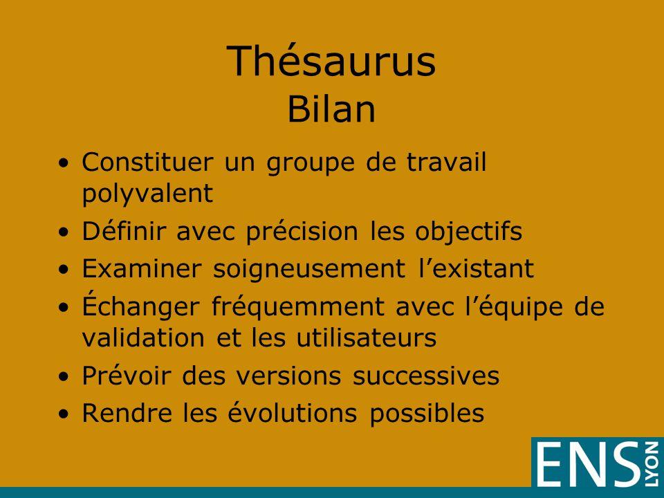 Thésaurus Bilan Constituer un groupe de travail polyvalent