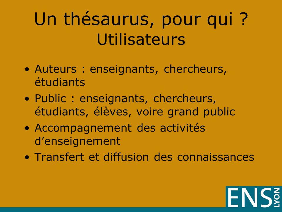 Un thésaurus, pour qui Utilisateurs