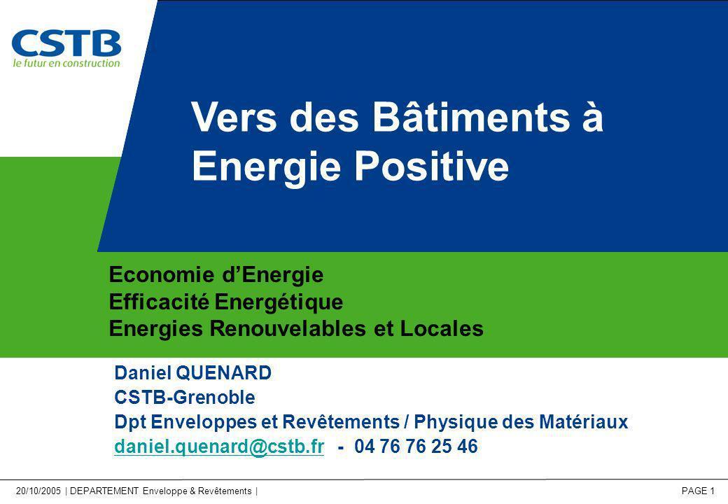 Vers des Bâtiments à Energie Positive