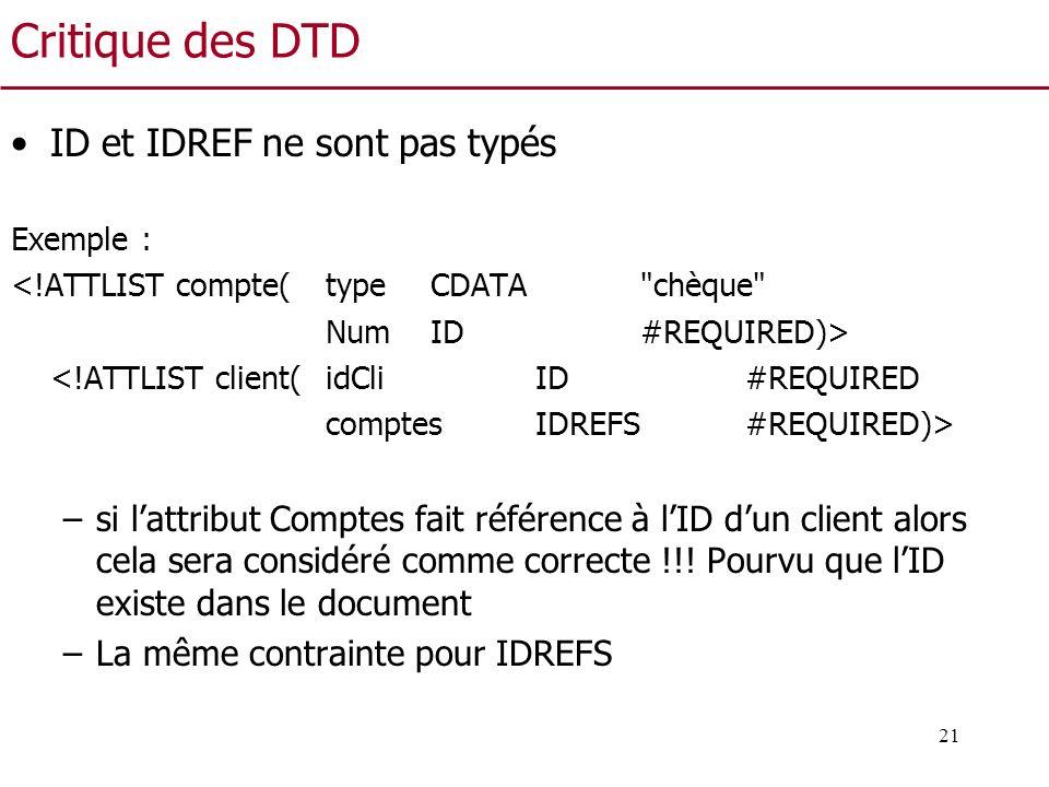 Critique des DTD ID et IDREF ne sont pas typés