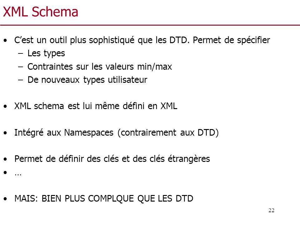 XML Schema C'est un outil plus sophistiqué que les DTD. Permet de spécifier. Les types. Contraintes sur les valeurs min/max.