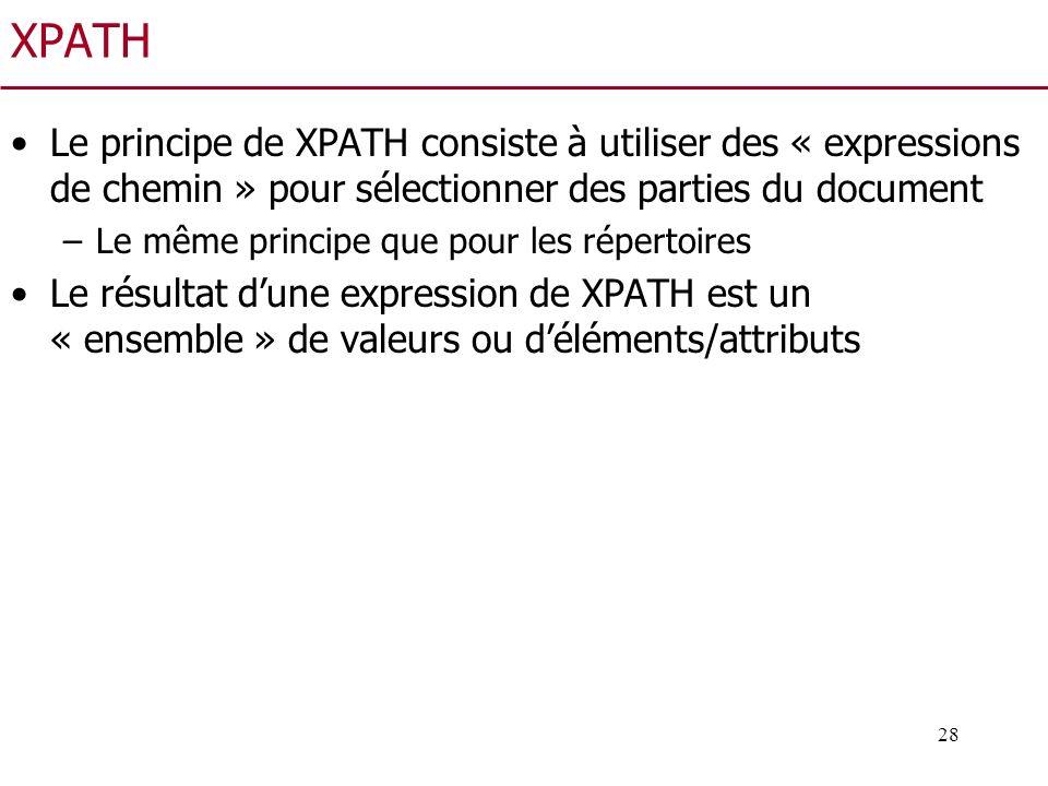 XPATH Le principe de XPATH consiste à utiliser des « expressions de chemin » pour sélectionner des parties du document.
