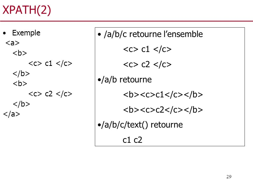XPATH(2) /a/b/c retourne l'ensemble <c> c1 </c>