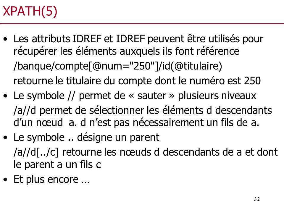 XPATH(5) Les attributs IDREF et IDREF peuvent être utilisés pour récupérer les éléments auxquels ils font référence.