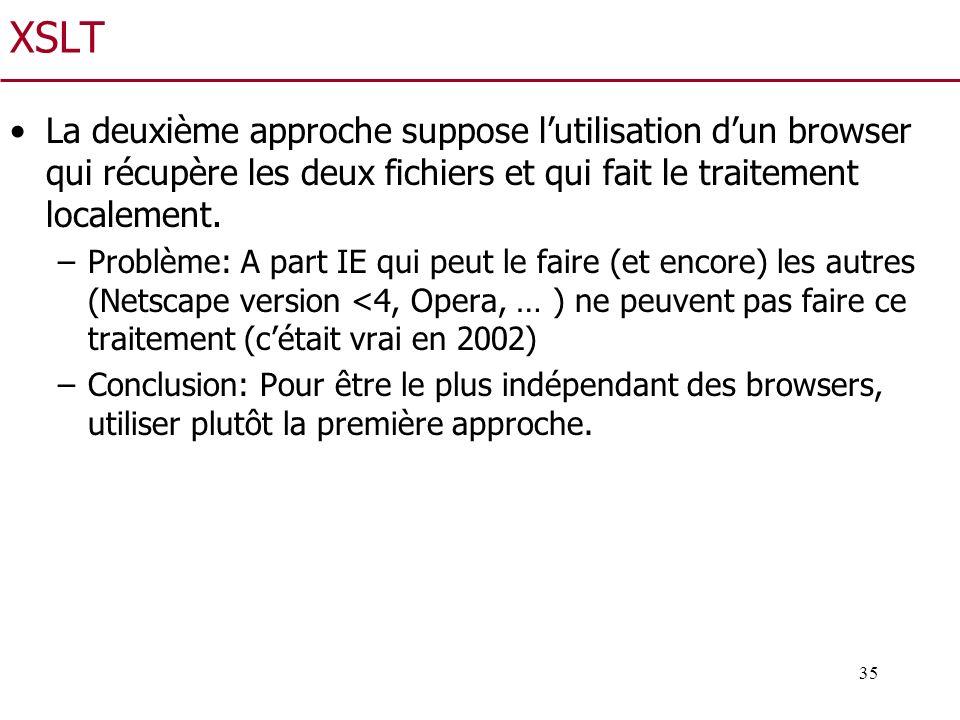 XSLT La deuxième approche suppose l'utilisation d'un browser qui récupère les deux fichiers et qui fait le traitement localement.
