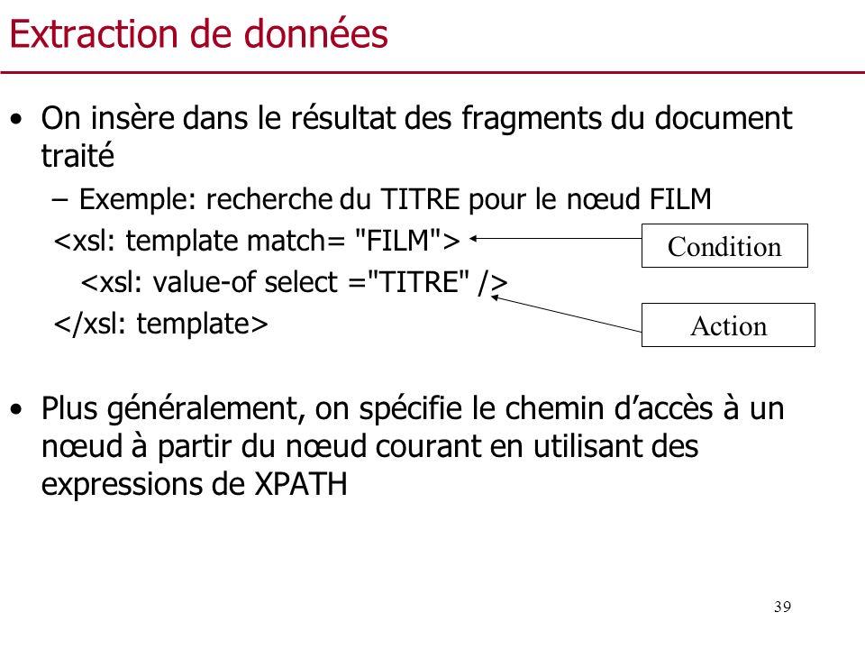 Extraction de données On insère dans le résultat des fragments du document traité. Exemple: recherche du TITRE pour le nœud FILM.
