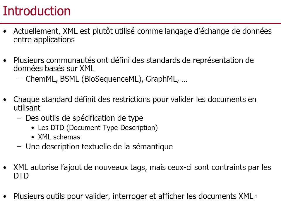 Introduction Actuellement, XML est plutôt utilisé comme langage d'échange de données entre applications.