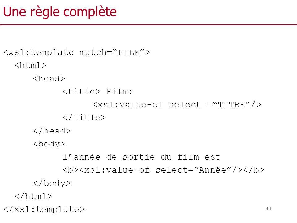 Une règle complète <xsl:template match= FILM > <html>