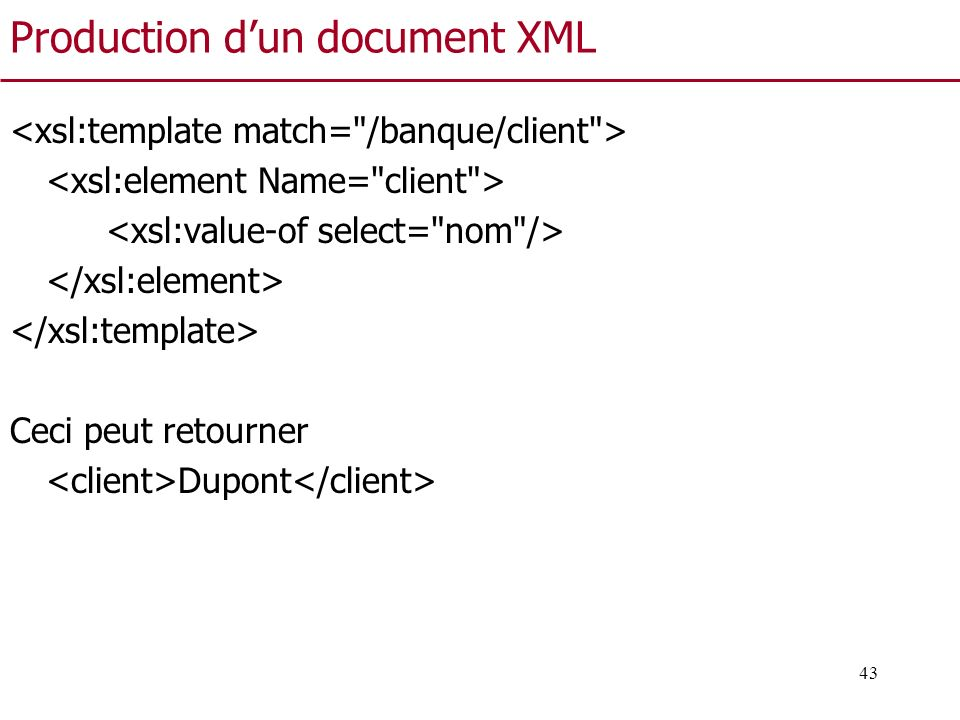 Production d'un document XML