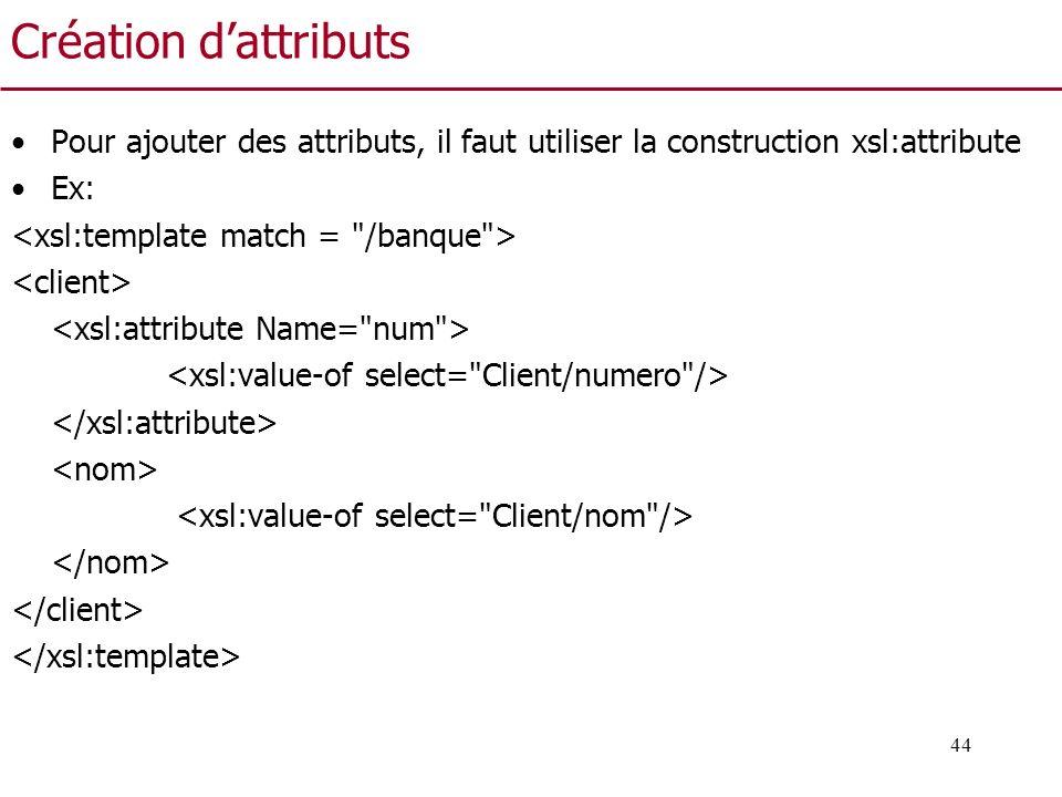 Création d'attributs Pour ajouter des attributs, il faut utiliser la construction xsl:attribute. Ex: