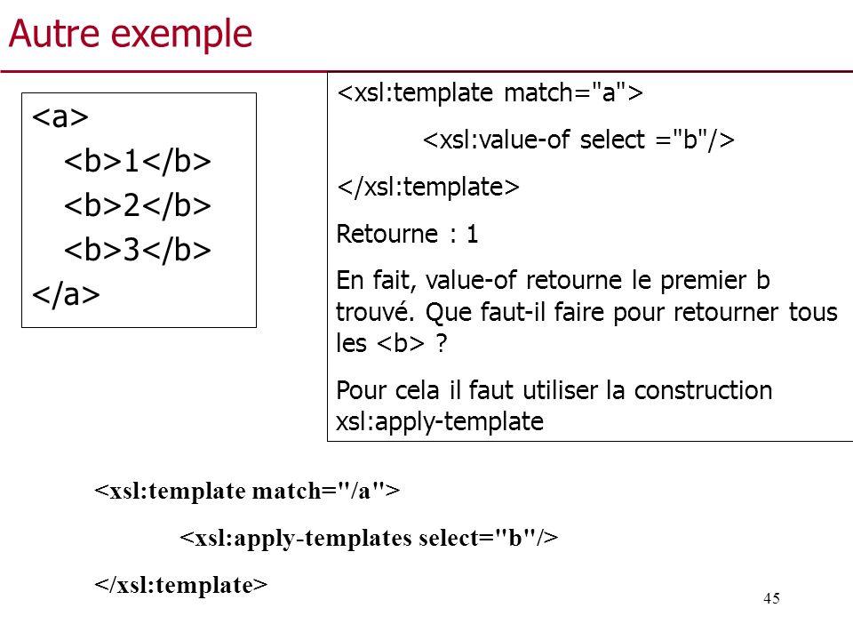 Autre exemple <a> <b>1</b> <b>2</b>