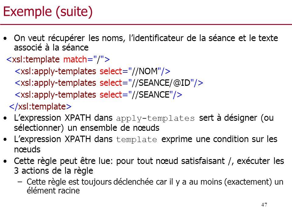 Exemple (suite) On veut récupérer les noms, l'identificateur de la séance et le texte associé à la séance.