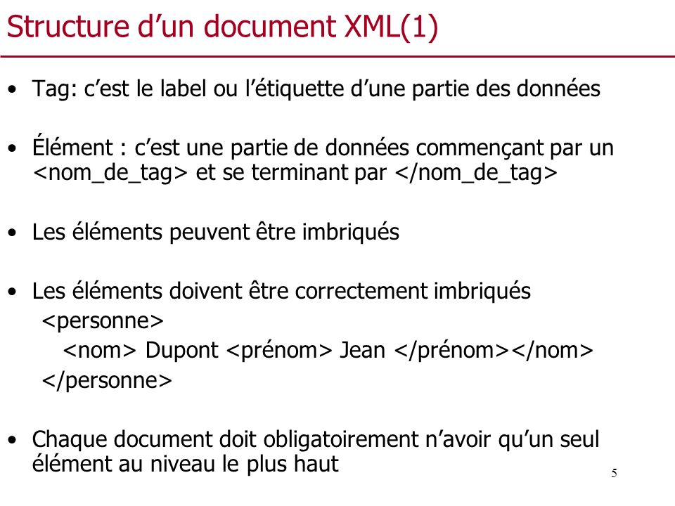 Structure d'un document XML(1)