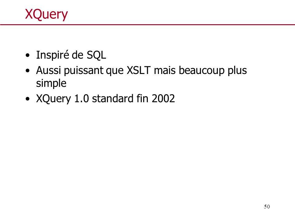 XQuery Inspiré de SQL. Aussi puissant que XSLT mais beaucoup plus simple.