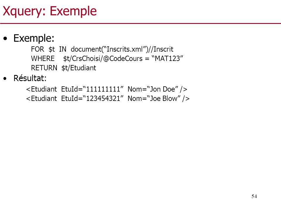 Xquery: Exemple Exemple: Résultat: