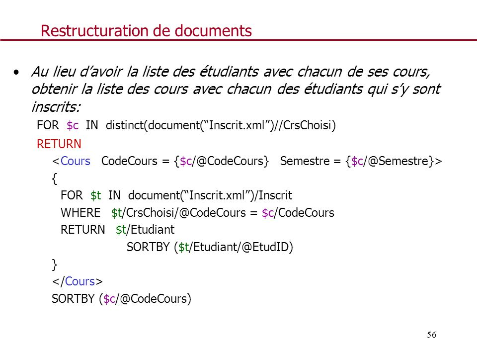 Restructuration de documents