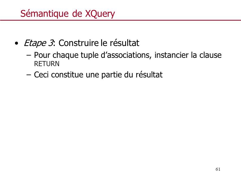Sémantique de XQuery Etape 3: Construire le résultat