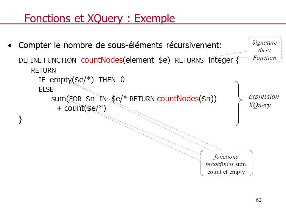 Fonctions et XQuery : Exemple