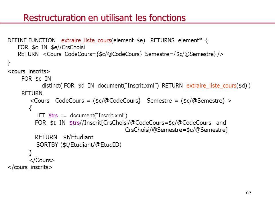 Restructuration en utilisant les fonctions