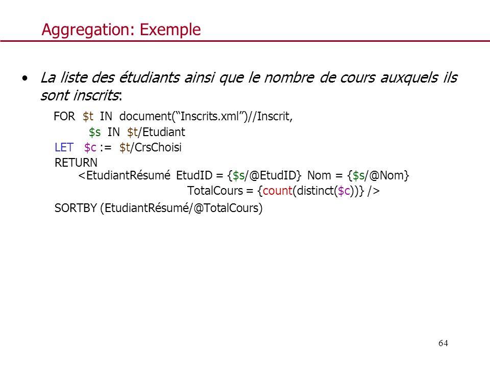 Aggregation: Exemple La liste des étudiants ainsi que le nombre de cours auxquels ils sont inscrits: