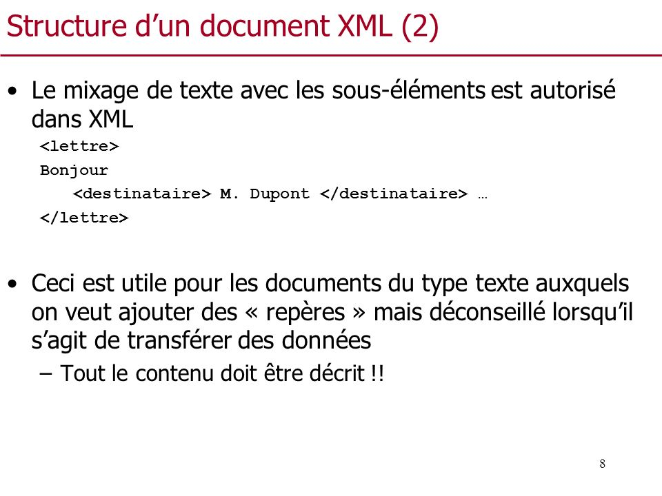 Structure d'un document XML (2)