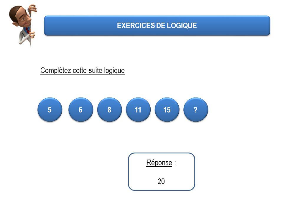 EXERCICES DE LOGIQUE Complétez cette suite logique 5 6 8 11 15 Réponse : 20