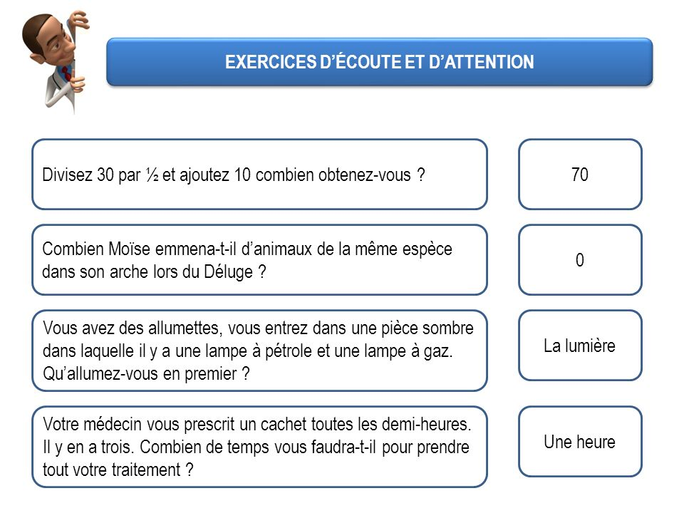 EXERCICES D'ÉCOUTE ET D'ATTENTION