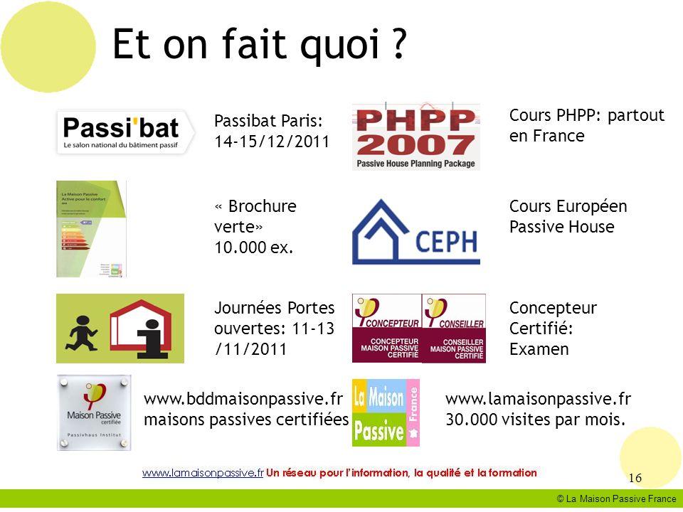 Et on fait quoi Cours PHPP: partout en France