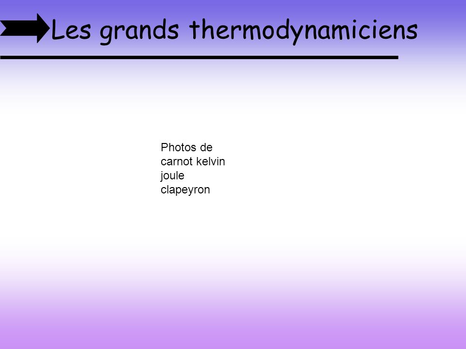 Les grands thermodynamiciens