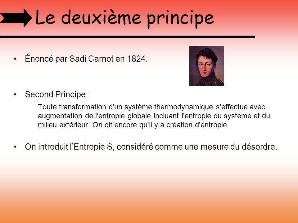 Le deuxième principe Énoncé par Sadi Carnot en 1824. Second Principe :