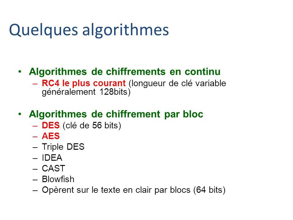 Quelques algorithmes Algorithmes de chiffrements en continu