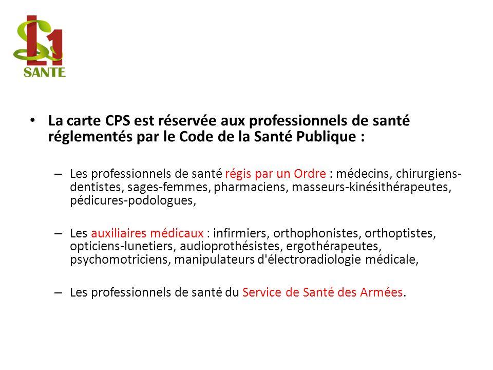 La carte CPS est réservée aux professionnels de santé réglementés par le Code de la Santé Publique :