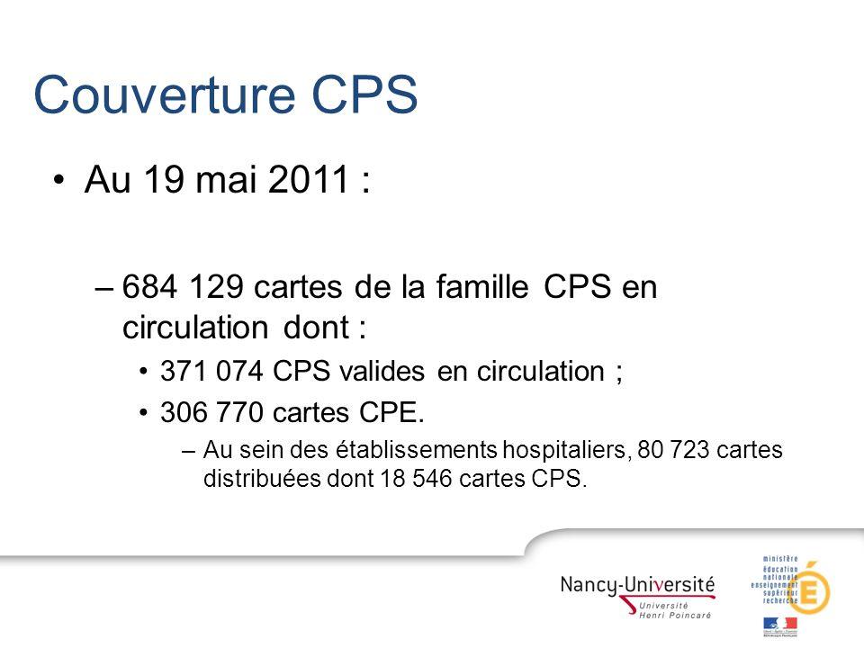 Couverture CPS Au 19 mai 2011 : 684 129 cartes de la famille CPS en circulation dont : 371 074 CPS valides en circulation ;
