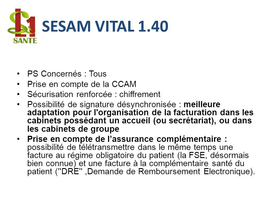 SESAM VITAL 1.40 PS Concernés : Tous Prise en compte de la CCAM