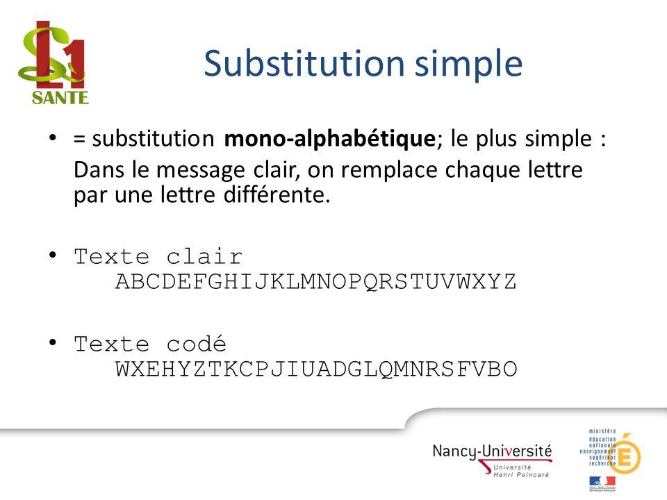 Substitution simple = substitution mono-alphabétique; le plus simple :