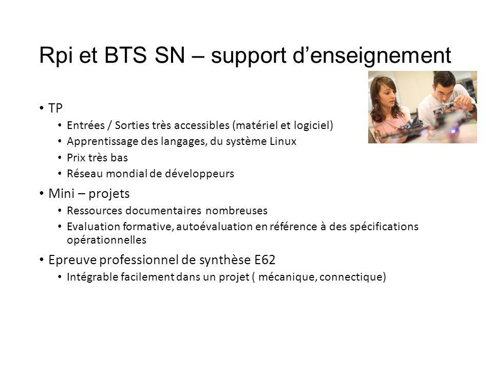 Rpi et BTS SN – support d'enseignement