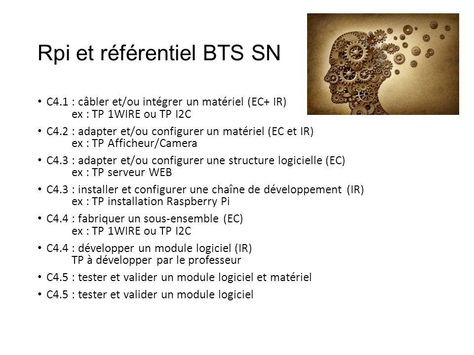 Rpi et référentiel BTS SN