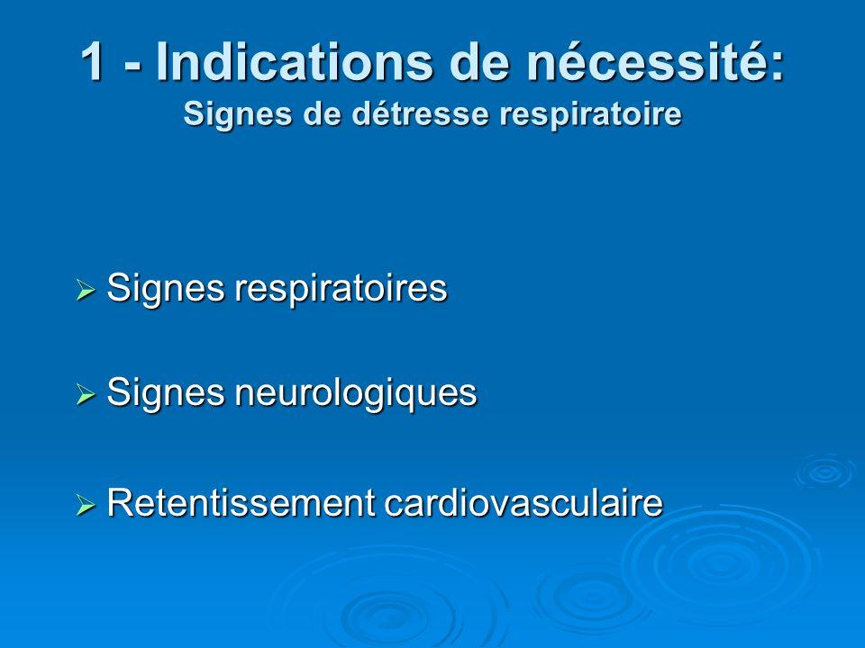 1 - Indications de nécessité: Signes de détresse respiratoire