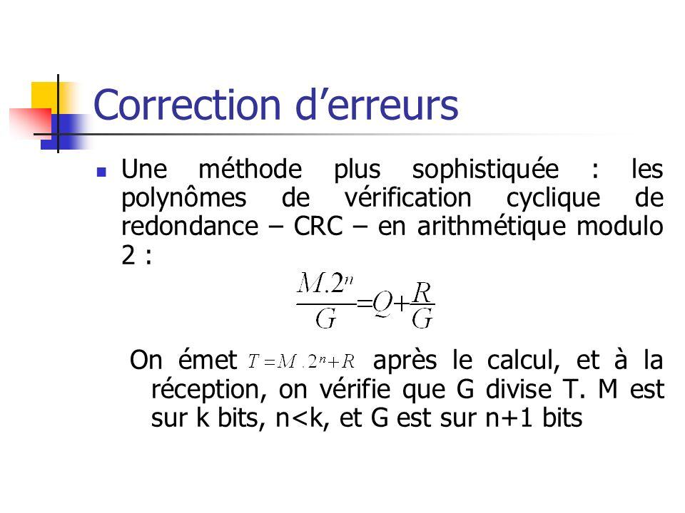 Correction d'erreurs Une méthode plus sophistiquée : les polynômes de vérification cyclique de redondance – CRC – en arithmétique modulo 2 :
