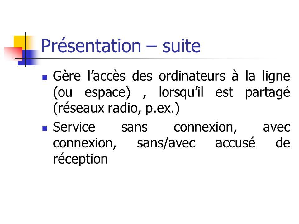 Présentation – suite Gère l'accès des ordinateurs à la ligne (ou espace) , lorsqu'il est partagé (réseaux radio, p.ex.)