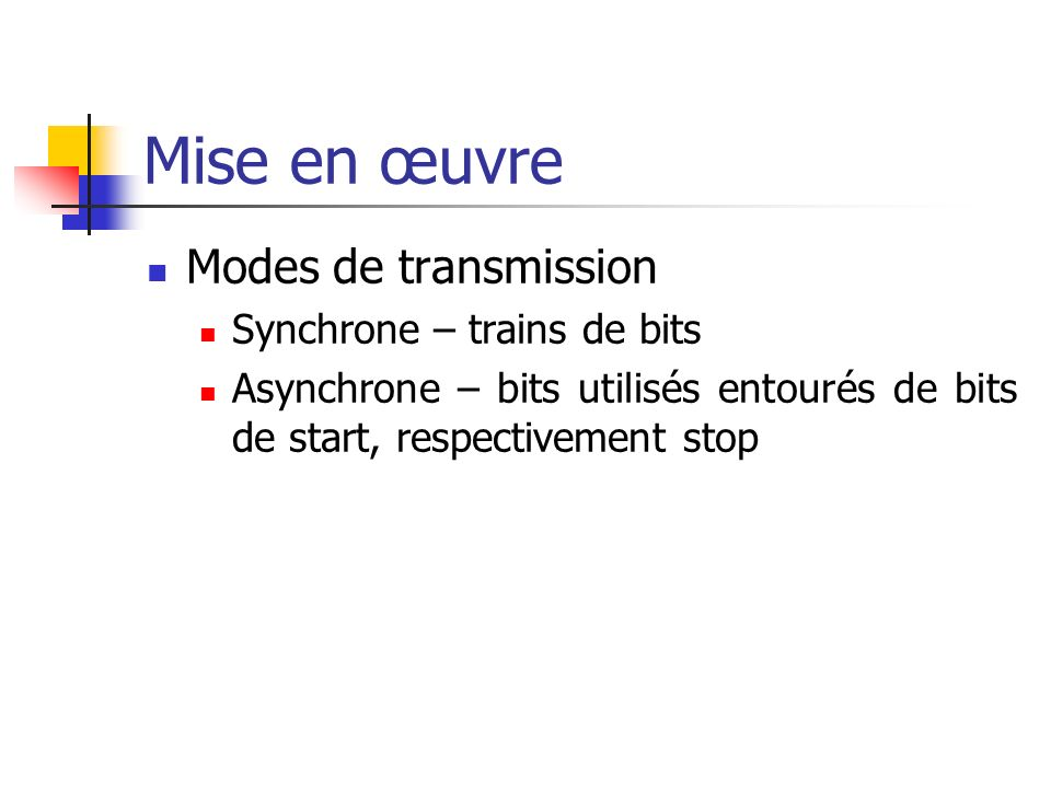 Mise en œuvre Modes de transmission Synchrone – trains de bits