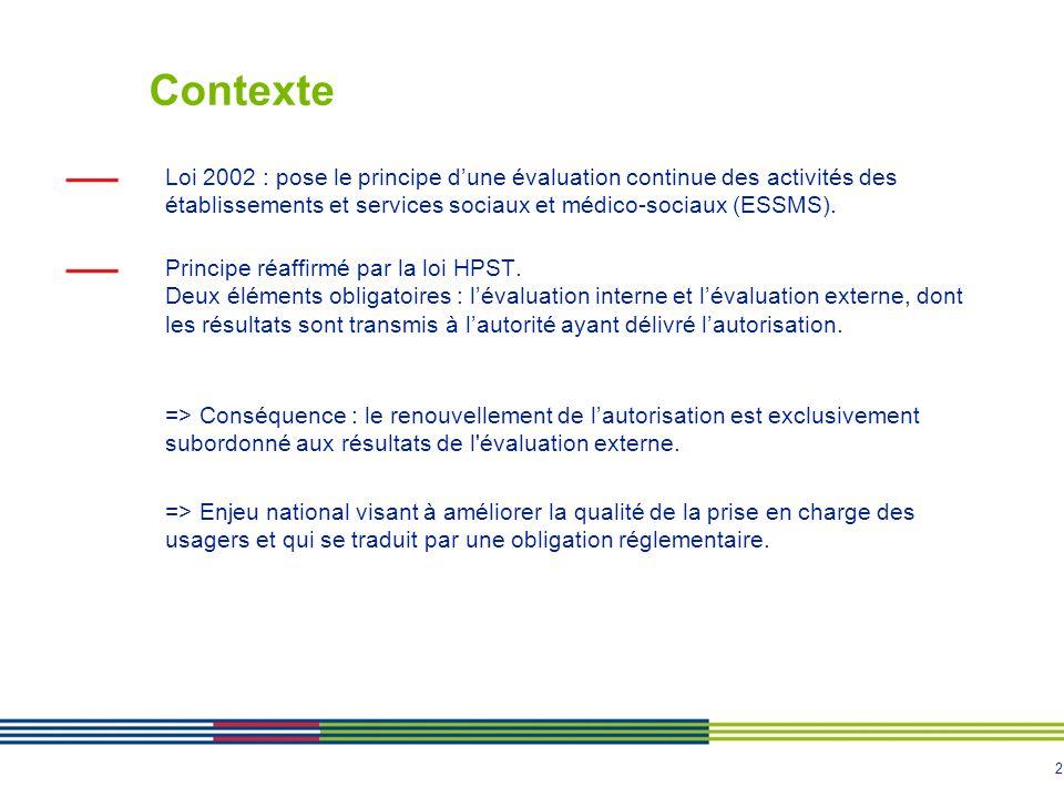 Contexte Loi 2002 : pose le principe d'une évaluation continue des activités des établissements et services sociaux et médico-sociaux (ESSMS).